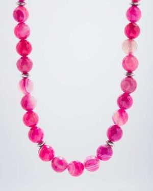 new Collier aus Flamingo-Achat und Hämatit ab 99.98 (99.98) Euro im Angebot