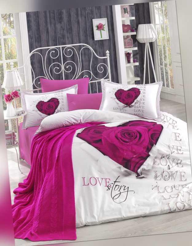 6 Tlg Bettwäsche Bettgarnitur Bettbezug 100 Baumwolle Kissen Decke