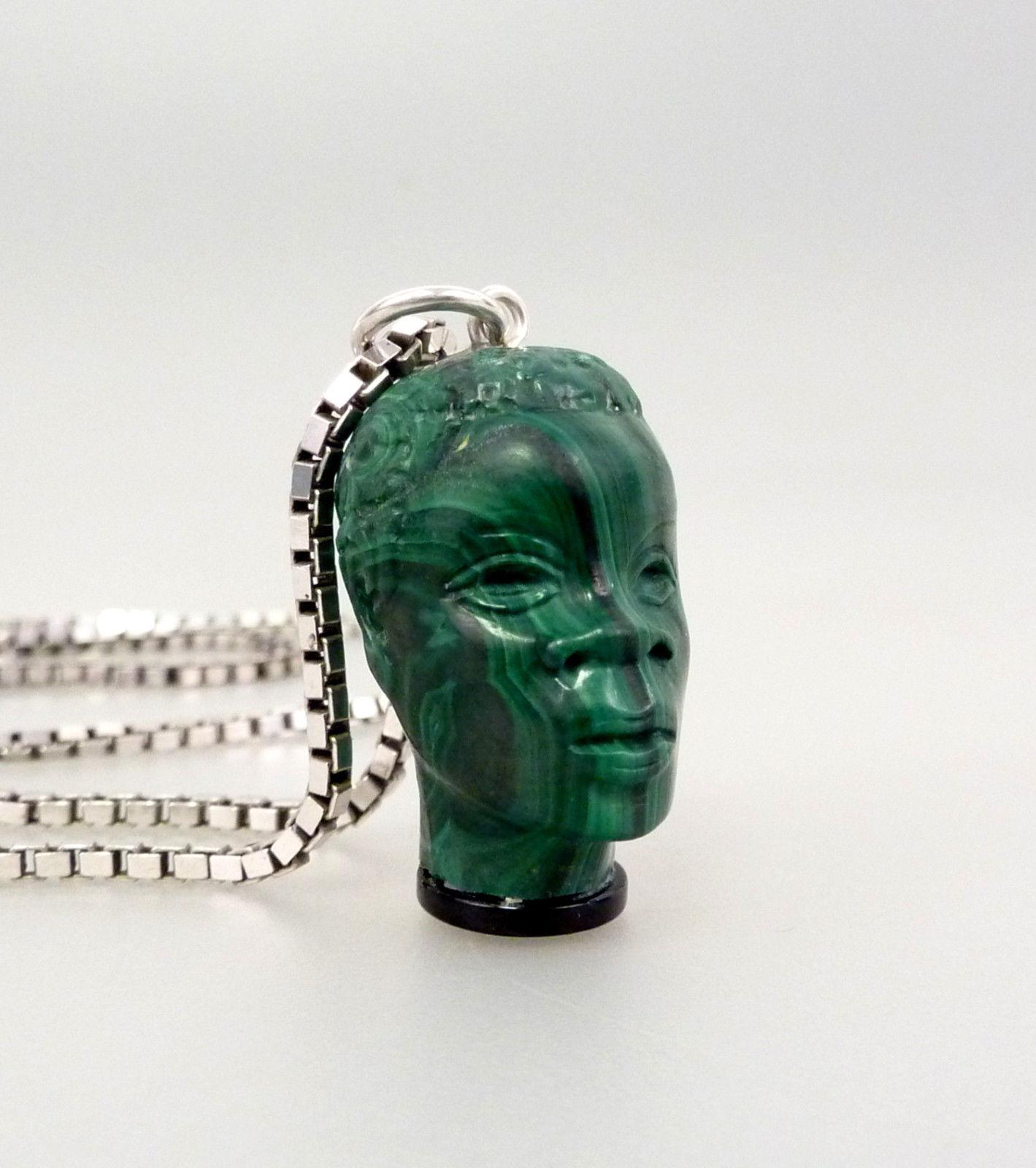 Handarbeit Vintage hochwertiger Malachit Kopf Anhänger mit Halskette 925 Silber