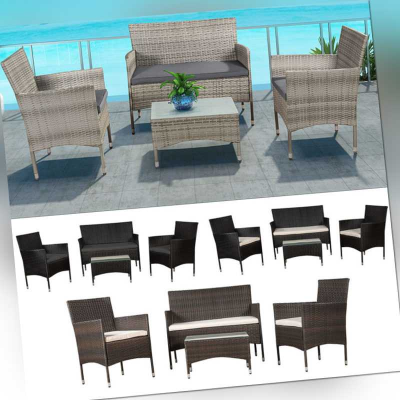 Polyrattan Gartenmöbel Sitzgruppe Gartenset Rattan Lounge Garnitur