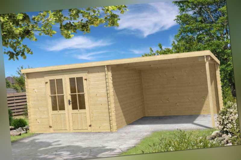 28 mm Gartenhaus mit Anbau Gerätehaus Blockhaus Holzhaus Holz ...
