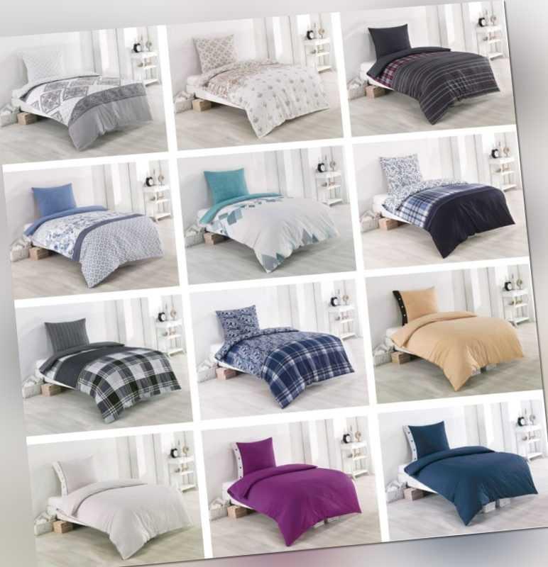 4 Tlg Baumwolle Renforce Bettwäsche 135x200 Schlafzimmer Bettbezug