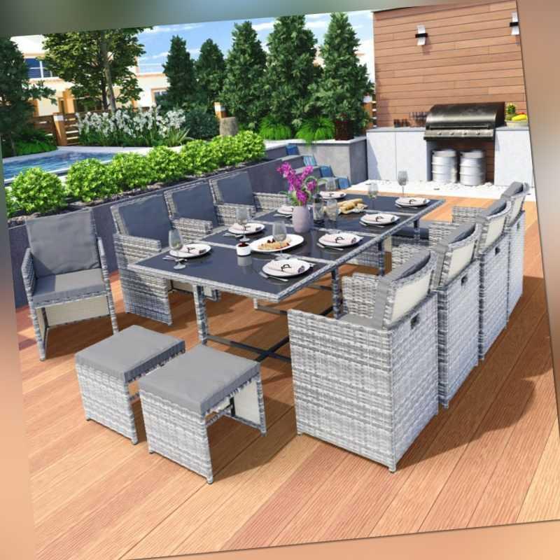 Poly Rattan Sitzgruppe Esstisch Lounge Gartenmöbel Sitzgarnitur Tisch Stühle