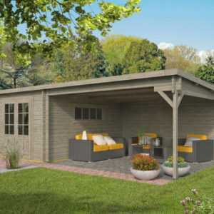 40 mm Gartenhaus GRAU ca. 700x400 cm Gerätehaus Blockhaus Schuppen Holzhaus Holz