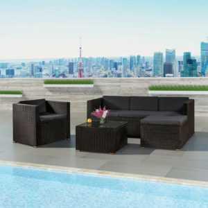Gartenmöbel Polyrattan Lounge Sitzgruppe Gartenset Möbel dunkelgrau ArtLife®