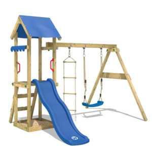 WICKEY Spielturm Kletterturm TinyCabin Blaue Rutsche Schaukel Garten Holz Kinder