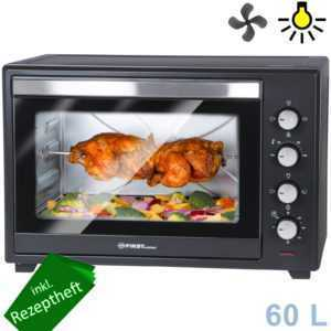 60 L Mini-Backofen | Krümelblech | Drehspieß | Umluft | Innenlicht | Pizza-Ofen