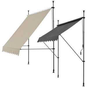 pro.tec® Klemmmarkise 200-300cm Markise Balkonmarkise Sonnenschutz -ohne Bohren-