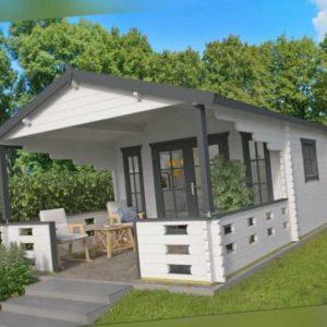 44 mm Gartenhaus + Terrasse 380x590 cm Blockhaus Holzhaus Gerätehaus Holz