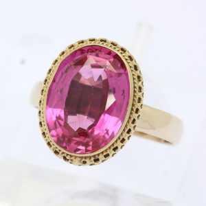 ♦ Ring in aus 8 kt 333er Gelb Gold mit synthetischem Korund ( Rubin ) Goldring ♦