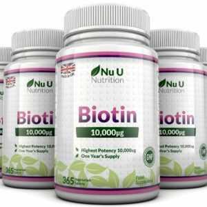 Biotin 10,000mcg 5 Flaschen 365 Tabletten Unterstützt Gesundes Haar und Nägel