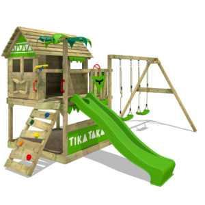 FATMOOSE Spielturm Kletterturm TikaTaka Town XXL Garten Doppelschaukel Rutsche