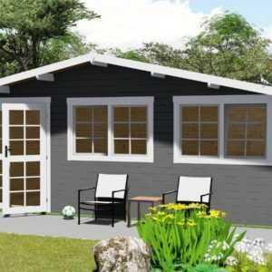 Gartenhaus aus Holz mit Vordach 0.4M Blockhaus 6x4M+0.4M 40mm Regensburg 40053OF