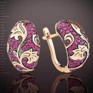 Rotgold 585 Ohrringe mit synth. Korund RUBIN KALINKA Rose Gold Neu