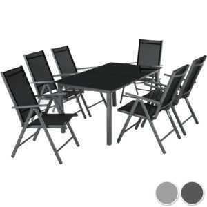 6+1 Alu Sitzgruppe Gartenmöbel Gartengarnitur Tisch Stuhl Essgruppe Gartenset