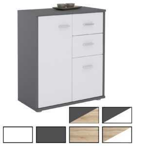 Kommode Highboard Mehrzweckschrank Büro Beistell Design 2 Türen Schubladen 60cm