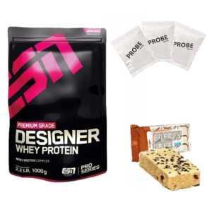 ESN Designer Whey Protein Premium Eiweiß 1kg + (ELF-Riegel + 3 Proben)