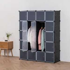 Deuline® Kleiderschrank DIY Schrank Regalsystem Steckregal Garderobe Schuhregal