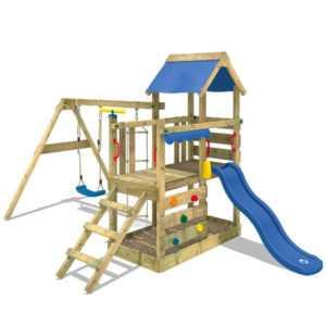 WICKEY Spielturm Kletterturm TurboFlyer Schaukel Sandkasten Rutsche Holz
