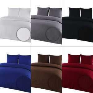 3 tlg. Seersucker Bettwäsche Kühle Sommer Bettgarnitur Baumwolle Bügelfrei