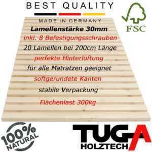 TUGA stabiles unbehandeltes Natur Rollrost 300kg 70 80 90 100 120 140 x 200 220