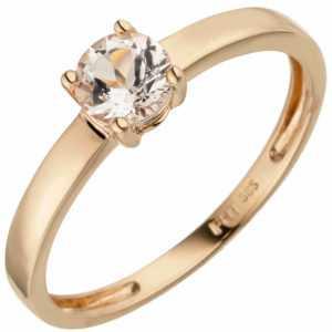 Ring Damenring Solitärring mit Morganit rosa, 585 Gold Rotgold Rosegold