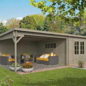 40 mm Gartenhaus GRAU ca. 7x4 m Gerätehaus Blockhaus Schuppen Holzhaus Holz