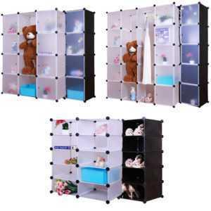 Grafner® Kleiderschrank DIY Schrank Regalsystem Steckregal Garderobe Schuhregal