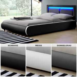 LED Polsterbett Kunstlederbett Ehebett Bett Doppelbett Bettgestell LED ArtLife®