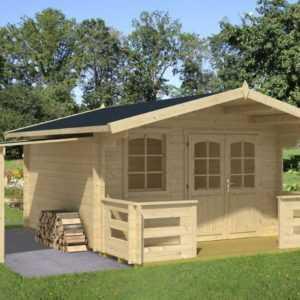 ca. 380x320 cm Gartenhaus 34mm + Terrasse + Schleppdach Gerätehaus Holz NEU