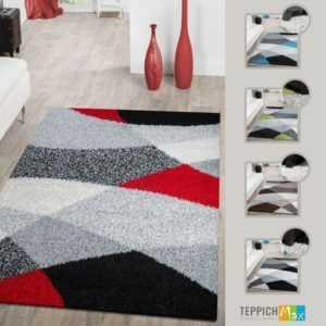 Shaggy Teppich Hochflor Moderne Teppiche Geometrisch Gemustert in Versch. Farben