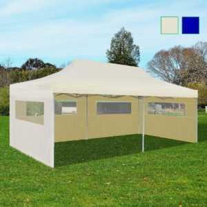 vidaXL Partyzelt 3x6m Pavillon Gartenpavillon Festzelt Faltzelt Creme/Blau