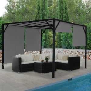 Pergola Baia, Garten Pavillon, 6cm-Stahl-Gestell + Schiebedach grau