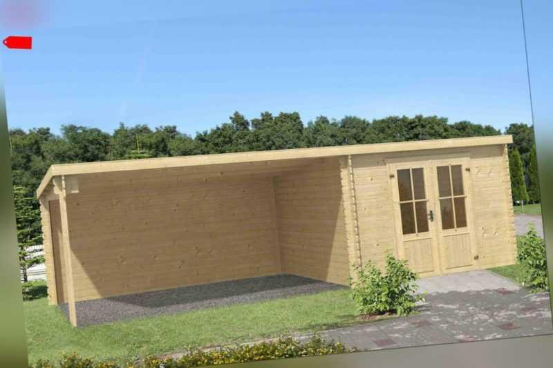Gartenhaus ca. 7x3 m Gerätehaus Blockhaus Schuppen Holzhaus Holz 28 mm