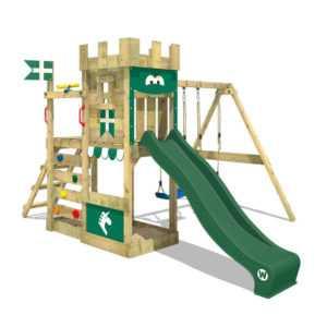 WICKEY Spielturm Klettergerüst RoyalFlyer - Doppelschaukel & grüne Rutsche