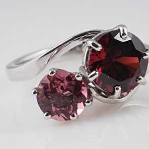 Ring Rhodolit Rubelit pink Turmalin 750 Gold IGI Expertisen