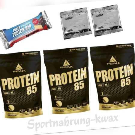 (13,16 Euro/Kg) Protein 85 3 x 1000g =3000g Peak  + 1 Riegel + 2 Proben