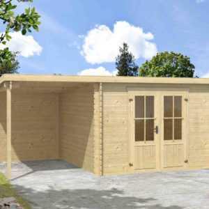 Gartenhaus ca. 5x3 m Gerätehaus Blockhaus Schuppen Holzhaus Holz 28 mm