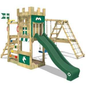WICKEY Klettergerüst Spielturm DragonFlyer - Doppelschaukel & grüne Rutsche
