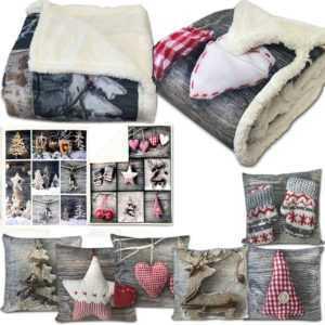Wohndecke Weihnachten Lammfell Optik Decke Wohn Kuscheldecke Sofa Fell Tages