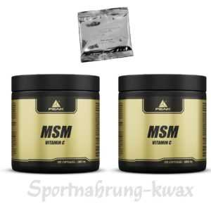 (7,88 Euro/100g) Doppelpack Peak - MSM - 2 x 120 Kapseln + gratis Probe