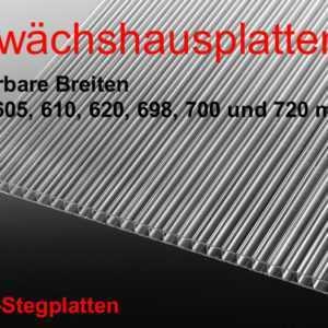 Doppelstegplatte Stärke 4-10 mm klar div.Breiten Länge 1250 mm Gewächshausplatte