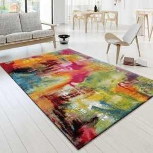 Designer Teppich Bunt Leinwand Optik Splash Mutlicolour Grün Rot Gelb Pink