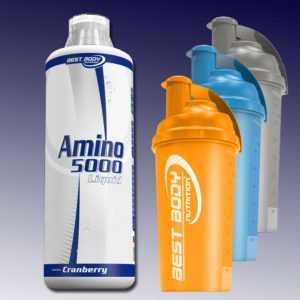 Best Body Nutrition Amino Liquid 5000 Aminoliquid 1000 ml + Eiweiß Shaker