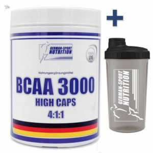 BCAA 3000 - 480 Kapseln 4:1:1 mit 1100mg / Kapsel Aminosäuren Muskelaufbau Amino