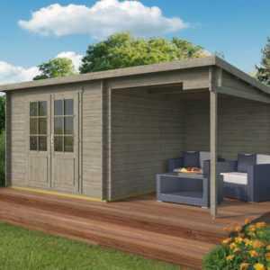Gartenhaus GRAU ca. 500x300 cm Gerätehaus Blockhaus Schuppen Holzhaus Holz 28 mm