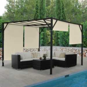 Pergola Baia, Garten Pavillon, 6cm-Stahl-Gestell + Schiebedach 3x3m 4x3m 4x4m