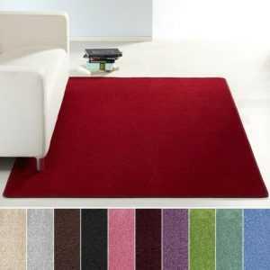 Design Kurzflor Teppich Uni einfarbig | rot grün rosa creme braun lila blau grau