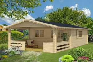 TOPGARDEN Gartenhaus Premium CAROLA 6x5m +  m Terrasse, 45mm Doppelnut mit Boden