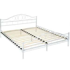 180x200 cm Schlafzimmerbett Bettgestell Metall Bett Doppelbett weiß + Lattenrost
